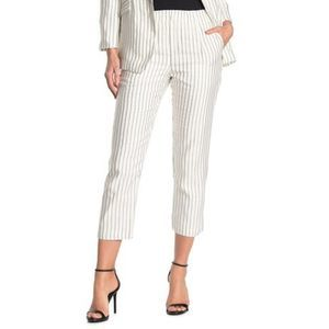 Joie White Araona Striped Pull On Linen Pant XL